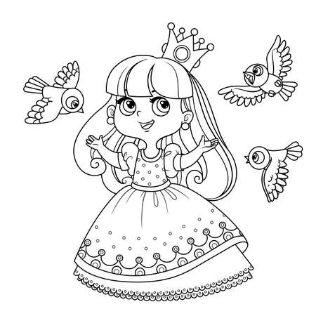 Cute princess sings for birds outlined for coloring book