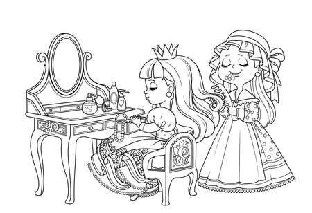 Maid combing the hair of a princess sitting behind dressing table outlined for coloring book