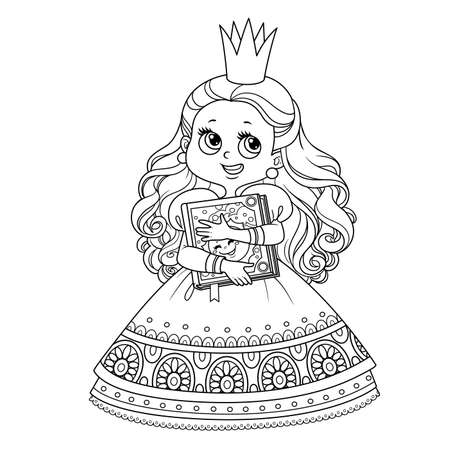 Cute brunette princess with fairytale book in hands outlined for coloring book