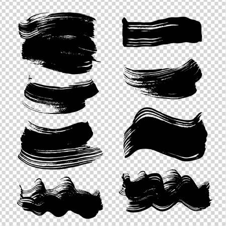 Black abstract figured strokes different shapes on imitation transparent background