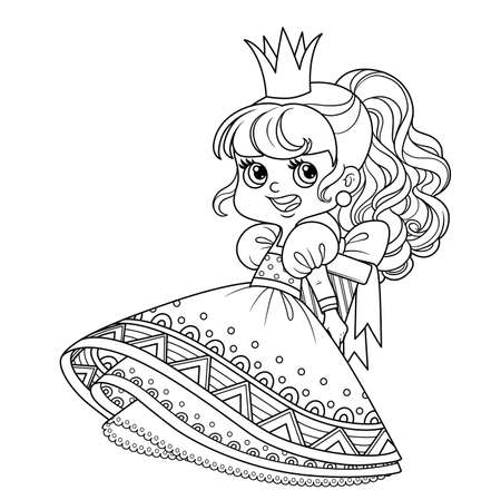 Cute princess in ball dress holding a gift behind her back outlined for coloring book
