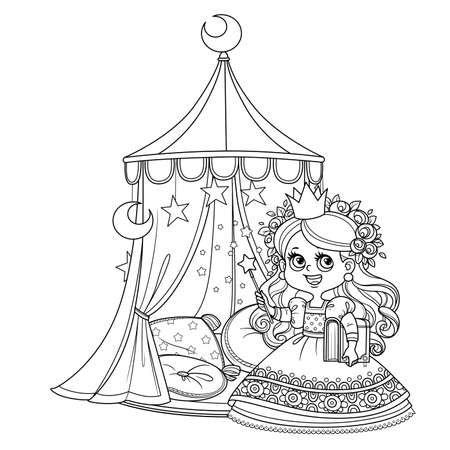 Cute princess with a book in his hands near the tent with pillows outlined for coloring book Vectores