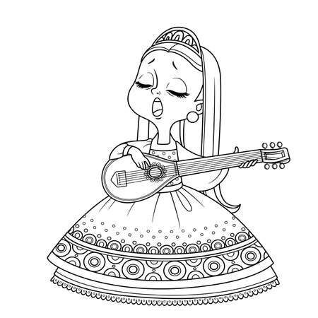 Cute princess sings and plays the lute outlined for coloring book Vectores