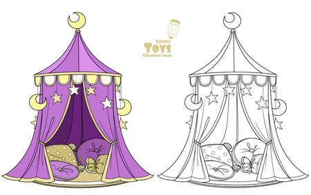Cute cartoon toy tent marquee with rug and pillows for little princesses and princes outlined and color for coloring book