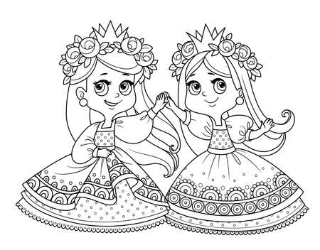 Two cute princesses in wreaths of rose flowers dancing holding hands outlined for coloring book