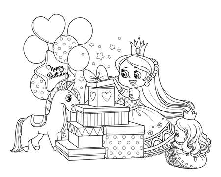Cute blond princess opens birthday gifts outlined for coloring book