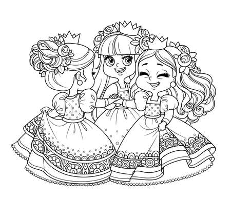 Three cute princesses in wreaths of rose flowers dancing holding hands outlined for coloring book