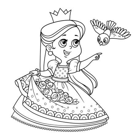 Cute princess with roses flowers in the hem and bird flying to the meeting outlined for coloring book Vectores