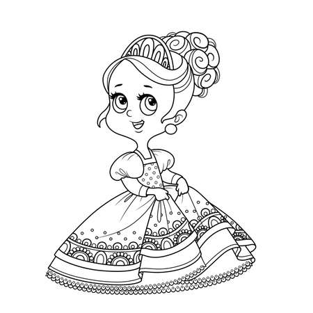 Cute princess in a ball dress outlined for coloring book Vectores