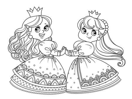 Two cute princesses dancing holding hands outlined for coloring book