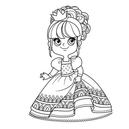 Cute princess in ball dress outlined for coloring book