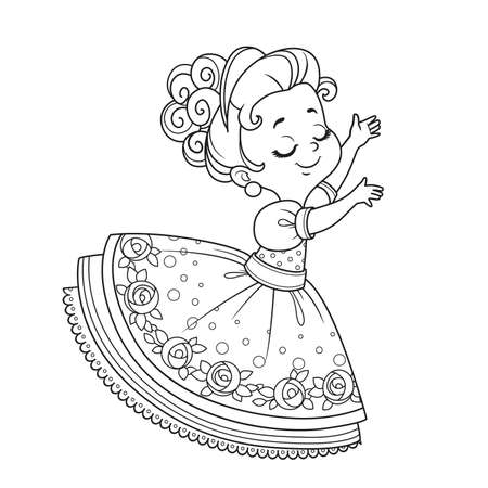 Cute princess dancing outlined for coloring book