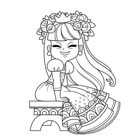Funny princess in lush dress and flowers in hair sitting on a bench outlined for coloring book
