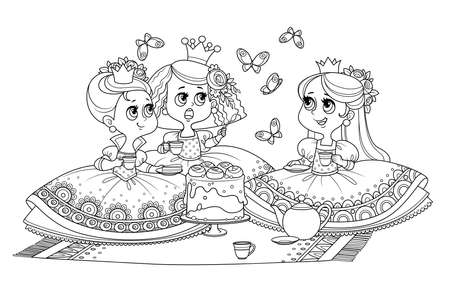 Three cute princesses sitting on the bedspread and having tea party outlined  for coloring book Vectores