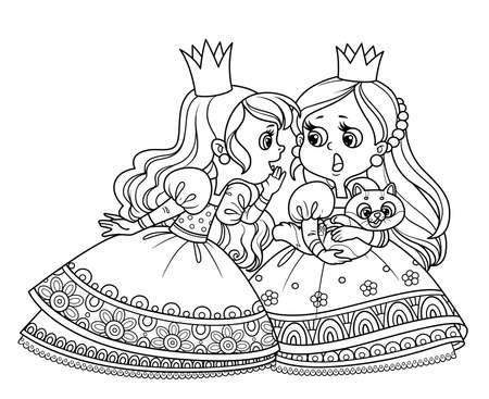Two cute princesses gossip or secret one of them has a cat outlined for coloring book