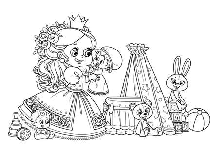 Cute blond princess playing with dolls outlined for coloring book