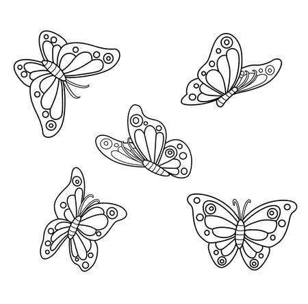 Spring butterflies outlined for coloring on a white background