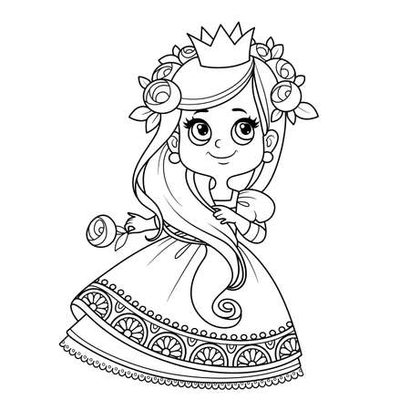 Cute princess with long hair in ball dress outlined for coloring book