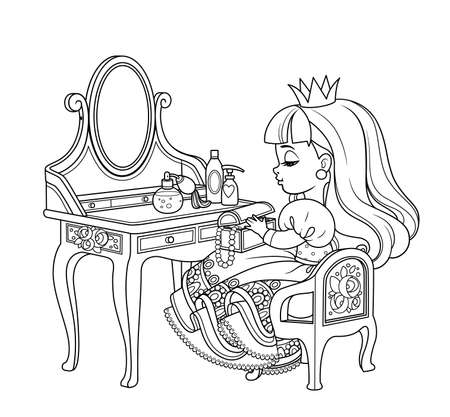 Cute princess sitting behind dressing table outlined for coloring book Vectores