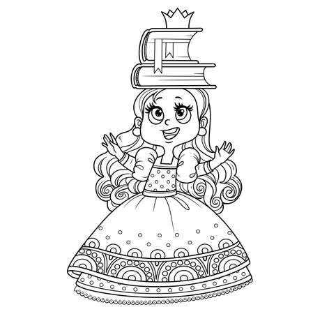 Cute princess in ball dress trains posture with books on the head outlined for coloring book