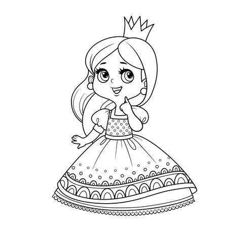 Cute pensive princess in lush dress outlined  for coloring book Vectores