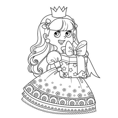 Cute princess in lush dress holding a gift in hands outlined for coloring book