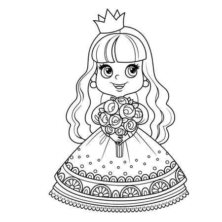 Cute princess in lush dress holding a bouquet of roses in hands outlined for coloring book