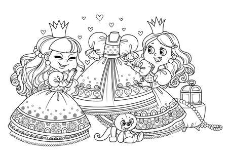 Two cute princess consider a ball gown on a mannequin outlined for coloring book