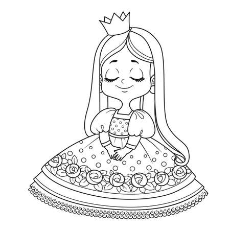 Cute embarrassed princess in a pink dress outlined for coloring book