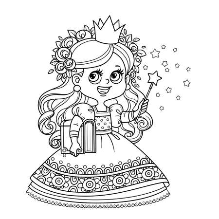 Cute princess with book in hand and a magic wand  outlined for coloring book