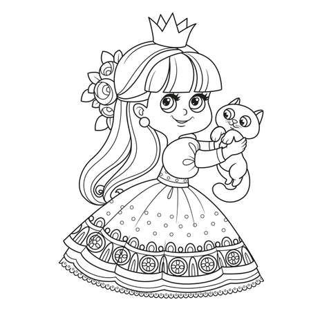 Little princess in lush dress holds cute kitten in hands outlined for coloring book Vectores