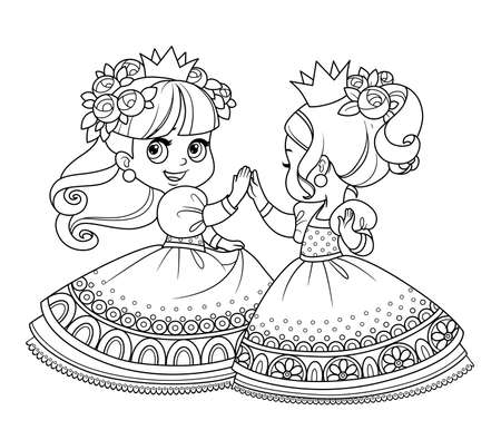 Two cute princesses in wreaths of rose flowers dancing outlined for coloring book Vectores