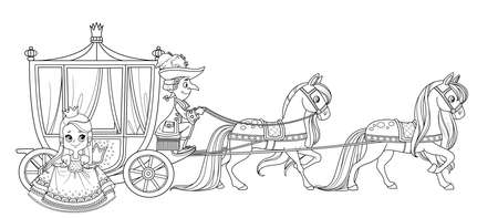 The little princess gets out of the carriage pulled by horses with the coachman outlined for coloring book
