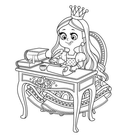 Little princess sits at a table and writes with pen on parchment outlined for coloring book Vectores