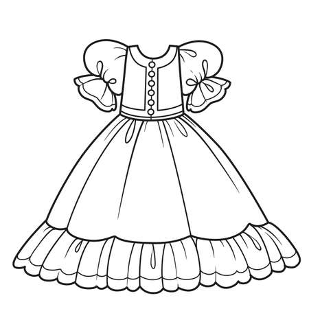 Ball gown with fluffy skirt for princess outfit outline for coloring on a white background