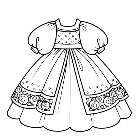 Ball gown with lush skirt with embroidered roses for princess outfit outline for coloring on a white background