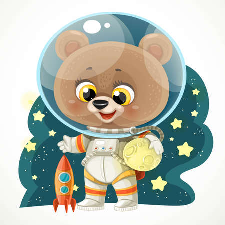 Cute cartoon teddy bear in an astronaut costume in outer space reaching for a star isolated on white background Vector Illustration