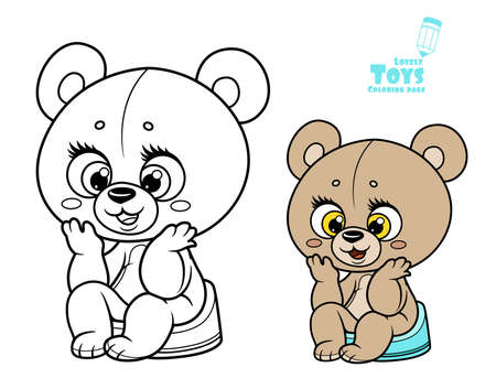 Cute little teddy bear sitting on the pot color and outline drawing on a white background Vectores