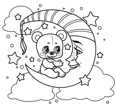 Cute cartoon teddy bear sits on the crescent moon and tells something outlined for coloring on a white background