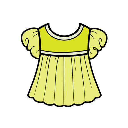 Babydoll blouse with lantern sleeves outline for coloring on a white background