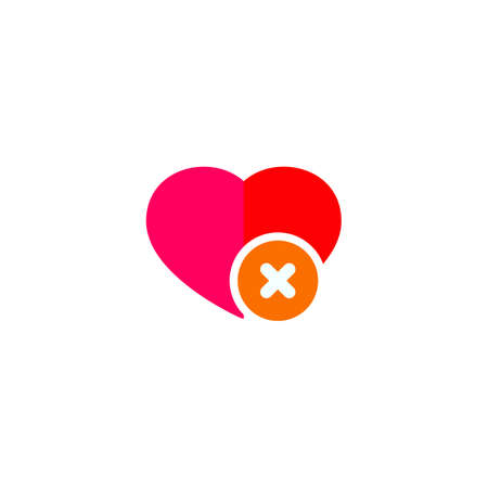 Heart sign web icon with delete symbol design element eps Illustration