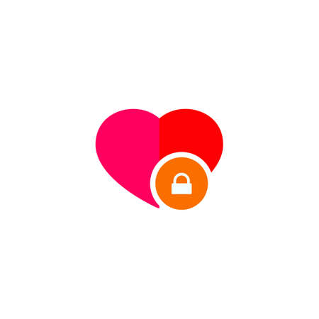 Heart and lock icon love secret symbol
