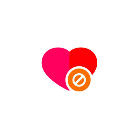 Heart sign with delete icon Illustration