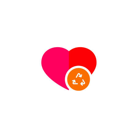 Of an isolated flat color red heart with a recycle sign