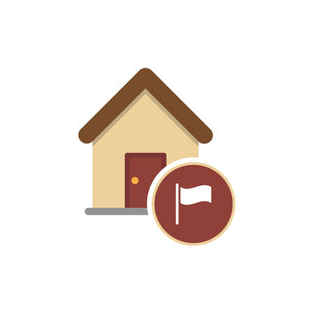 Home icon. Government Building With Flag icon. Vector illustration style is a flat iconic government building with flag symbol