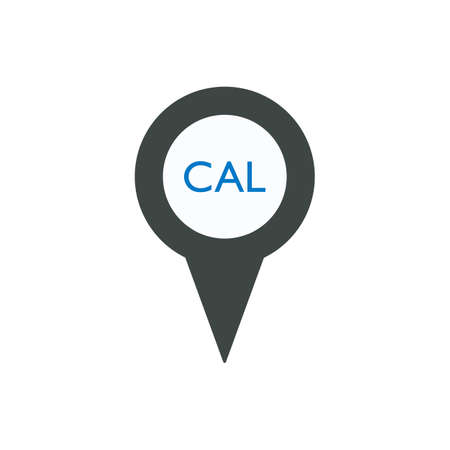Pin icon with CAL sign symbol Illustration