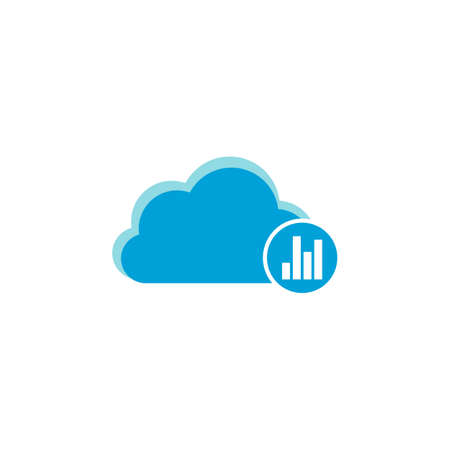 Cloud computing icon, graph chart icon