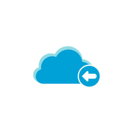 Cloud computing icon, arrow left icon