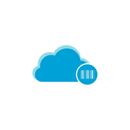 Cloud computing icon, barcode icon