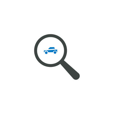 Magnifying glass icon, car icon vector sign.